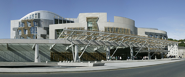 Front of the Scottish Parliament from Horse Wynd