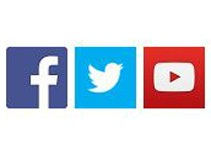 Facebook, Twitter and YouTube logos